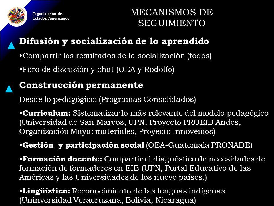 Organización de Estados Americanos MECANISMOS DE SEGUIMIENTO Difusión y socialización de lo aprendido Compartir los resultados de la socialización (todos) Foro de discusión y chat (OEA y Rodolfo) Construcción permanente Desde lo pedagógico: (Programas Consolidados) Curriculum: Sistematizar lo más relevante del modelo pedagógico (Universidad de San Marcos, UPN, Proyecto PROEIB Andes, Organización Maya: materiales, Proyecto Innovemos) Gestión y participación social (OEA-Guatemala PRONADE) Formación docente: Compartir el diagnóstico de necesidades de formación de formadores en EIB (UPN, Portal Educativo de las Américas y las Universidades de los nueve países.) Lingüístico: Reconocimiento de las lenguas indígenas (Uninversidad Veracruzana, Bolivia, Nicaragua)