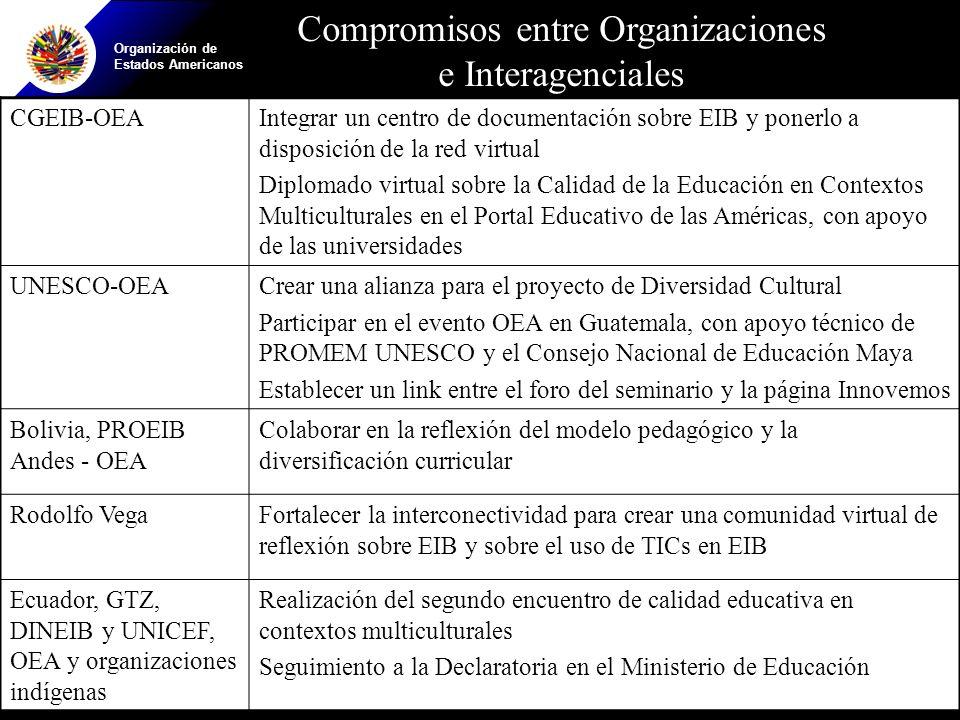Organización de Estados Americanos CGEIB-OEAIntegrar un centro de documentación sobre EIB y ponerlo a disposición de la red virtual Diplomado virtual sobre la Calidad de la Educación en Contextos Multiculturales en el Portal Educativo de las Américas, con apoyo de las universidades UNESCO-OEACrear una alianza para el proyecto de Diversidad Cultural Participar en el evento OEA en Guatemala, con apoyo técnico de PROMEM UNESCO y el Consejo Nacional de Educación Maya Establecer un link entre el foro del seminario y la página Innovemos Bolivia, PROEIB Andes - OEA Colaborar en la reflexión del modelo pedagógico y la diversificación curricular Rodolfo VegaFortalecer la interconectividad para crear una comunidad virtual de reflexión sobre EIB y sobre el uso de TICs en EIB Ecuador, GTZ, DINEIB y UNICEF, OEA y organizaciones indígenas Realización del segundo encuentro de calidad educativa en contextos multiculturales Seguimiento a la Declaratoria en el Ministerio de Educación Compromisos entre Organizaciones e Interagenciales