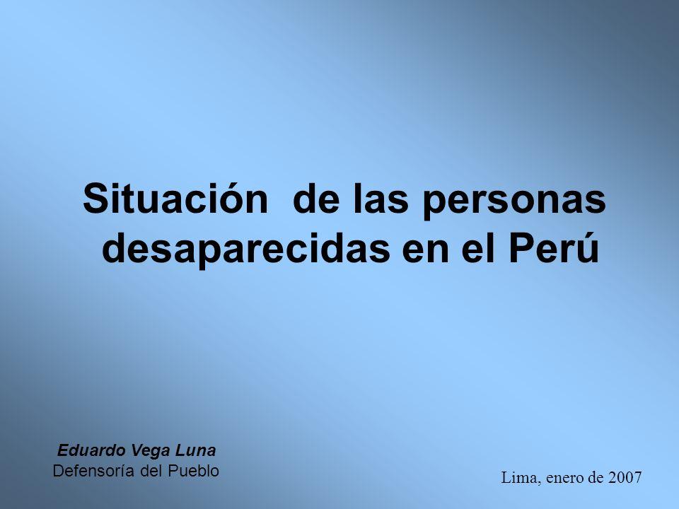 Situación de las personas desaparecidas en el Perú Lima, enero de 2007 Eduardo Vega Luna Defensoría del Pueblo