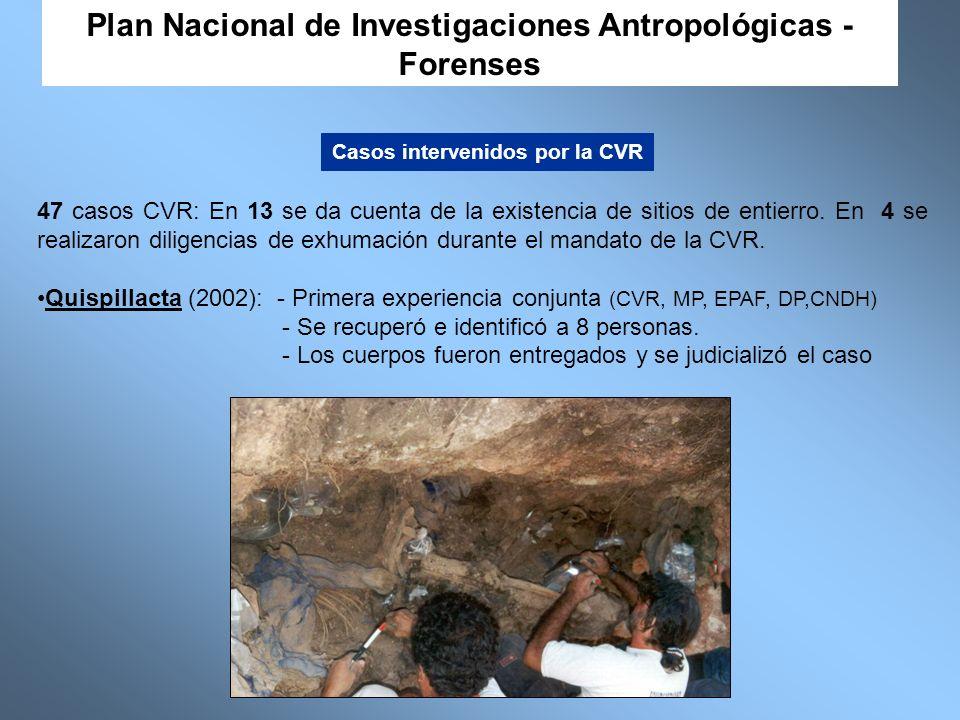 47 casos CVR: En 13 se da cuenta de la existencia de sitios de entierro. En 4 se realizaron diligencias de exhumación durante el mandato de la CVR. Qu