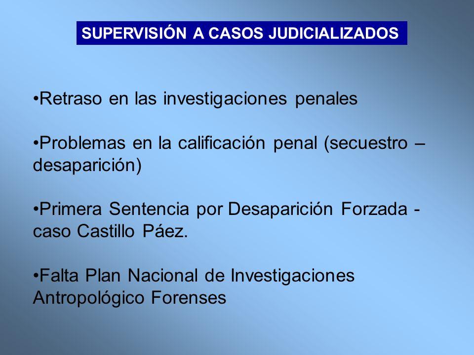 SUPERVISIÓN A CASOS JUDICIALIZADOS Retraso en las investigaciones penales Problemas en la calificación penal (secuestro – desaparición) Primera Senten