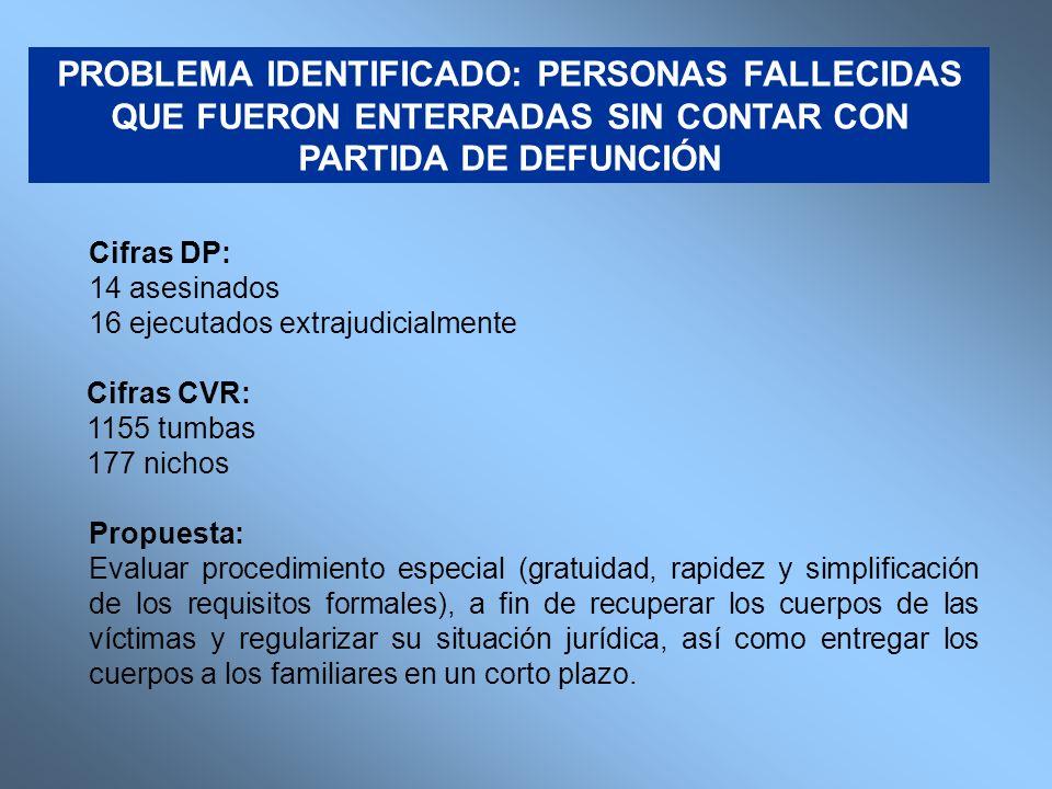 Cifras DP: 14 asesinados 16 ejecutados extrajudicialmente Cifras CVR: 1155 tumbas 177 nichos Propuesta: Evaluar procedimiento especial (gratuidad, rap