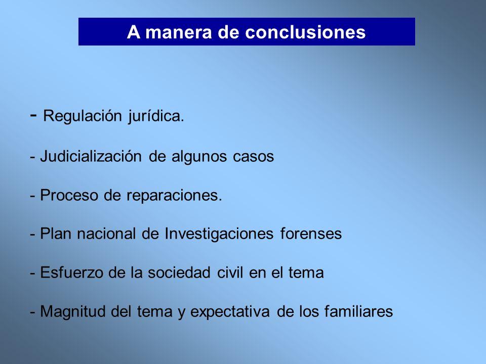 A manera de conclusiones - Regulación jurídica. - Judicialización de algunos casos - Proceso de reparaciones. - Plan nacional de Investigaciones foren