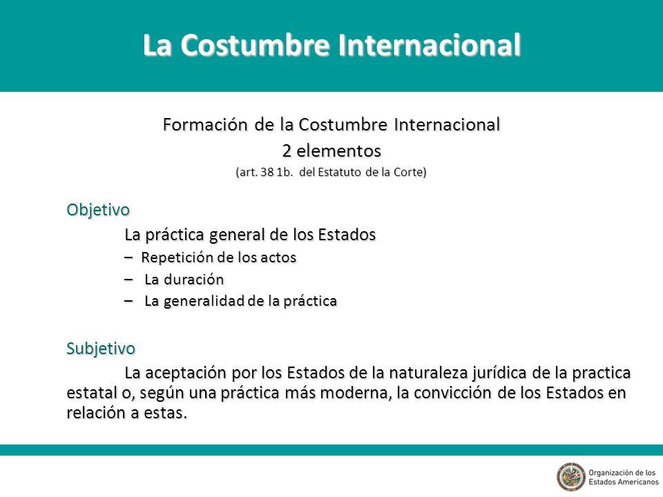 Formación de la Costumbre Internacional 2 elementos (art.