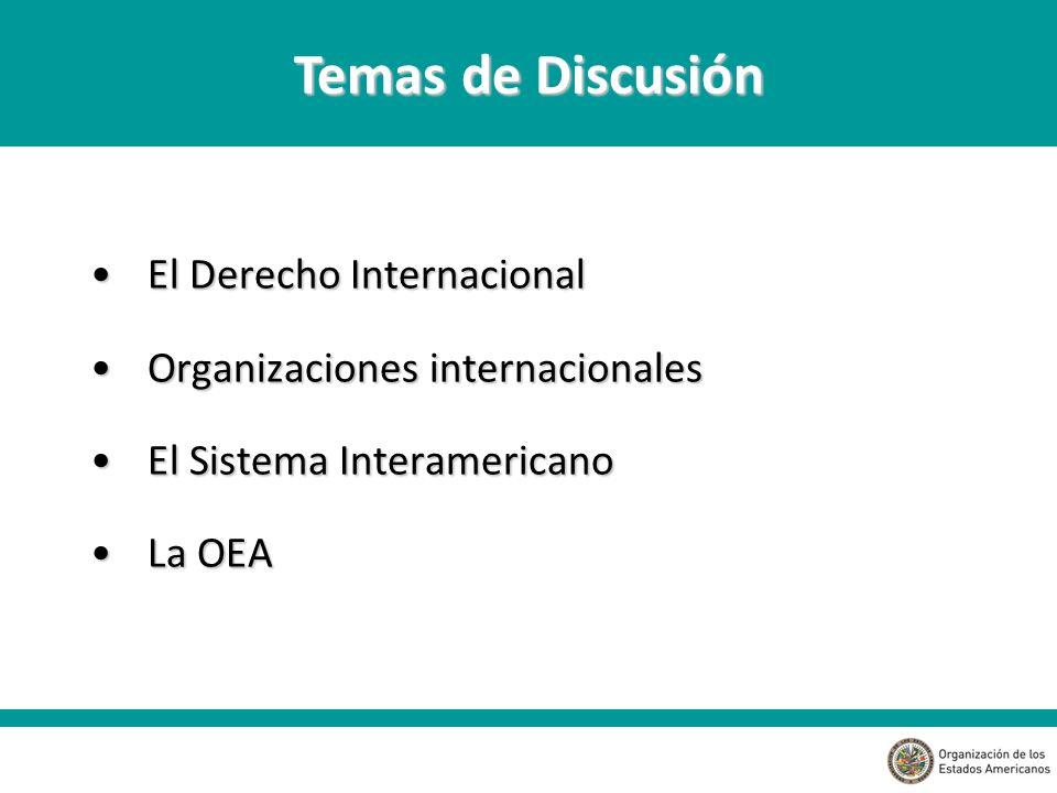 El Derecho InternacionalEl Derecho Internacional Organizaciones internacionalesOrganizaciones internacionales El Sistema InteramericanoEl Sistema Interamericano La OEALa OEA Temas de Discusión