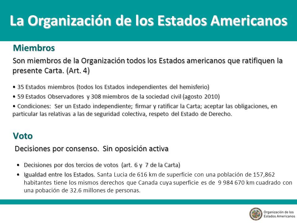 Miembros Son miembros de la Organización todos los Estados americanos que ratifiquen la presente Carta.