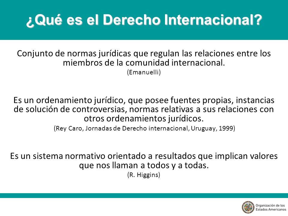 Conjunto de normas jurídicas que regulan las relaciones entre los miembros de la comunidad internacional.