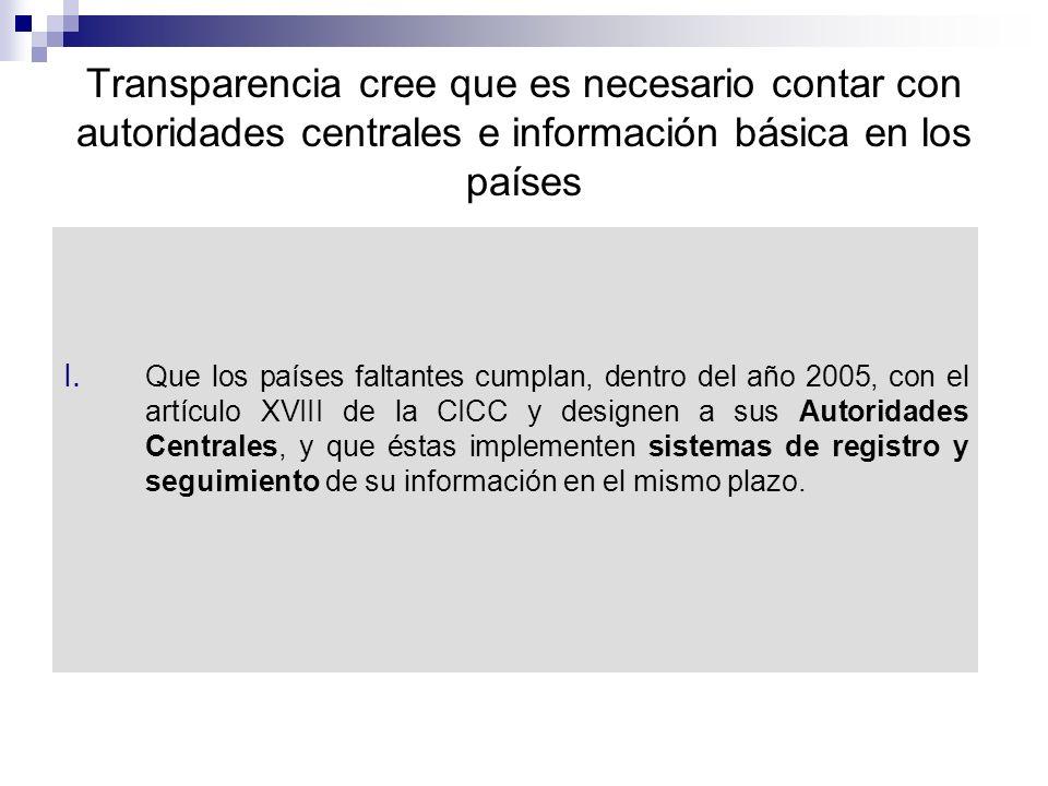 Transparencia cree que es necesario contar con autoridades centrales e información básica en los países I.
