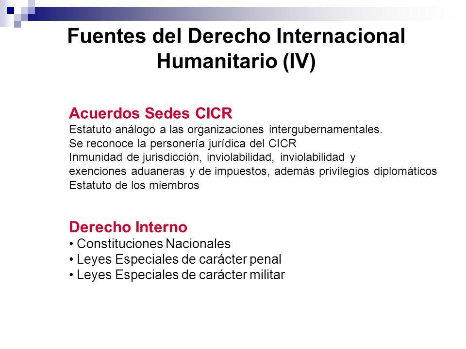 Fuentes del Derecho Internacional Humanitario (IV) Derecho Interno Constituciones Nacionales Leyes Especiales de carácter penal Leyes Especiales de ca