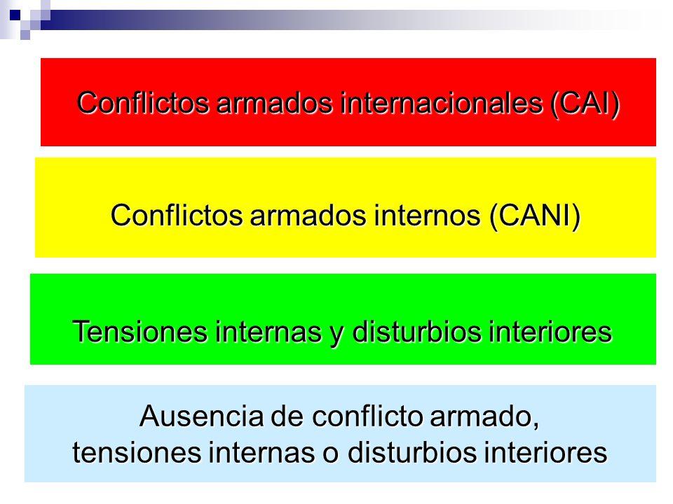 Conflictos armados internacionales (CAI) Ausencia de conflicto armado, tensiones internas o disturbios interiores Conflictos armados internos (CANI) T