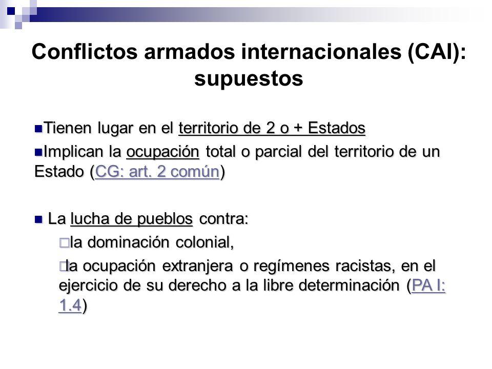 Conflictos armados internacionales (CAI): supuestos Tienen lugar en el territorio de 2 o + Estados Tienen lugar en el territorio de 2 o + Estados Impl