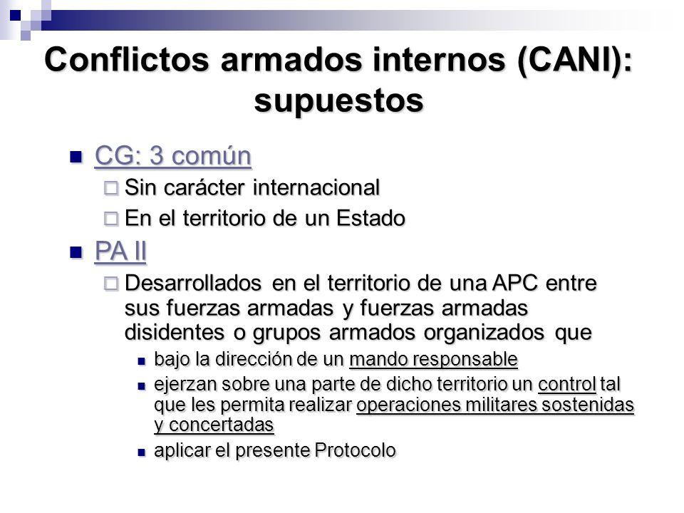 Conflictos armados internos (CANI): supuestos CG: 3 común CG: 3 común CG: 3 común CG: 3 común Sin carácter internacional Sin carácter internacional En