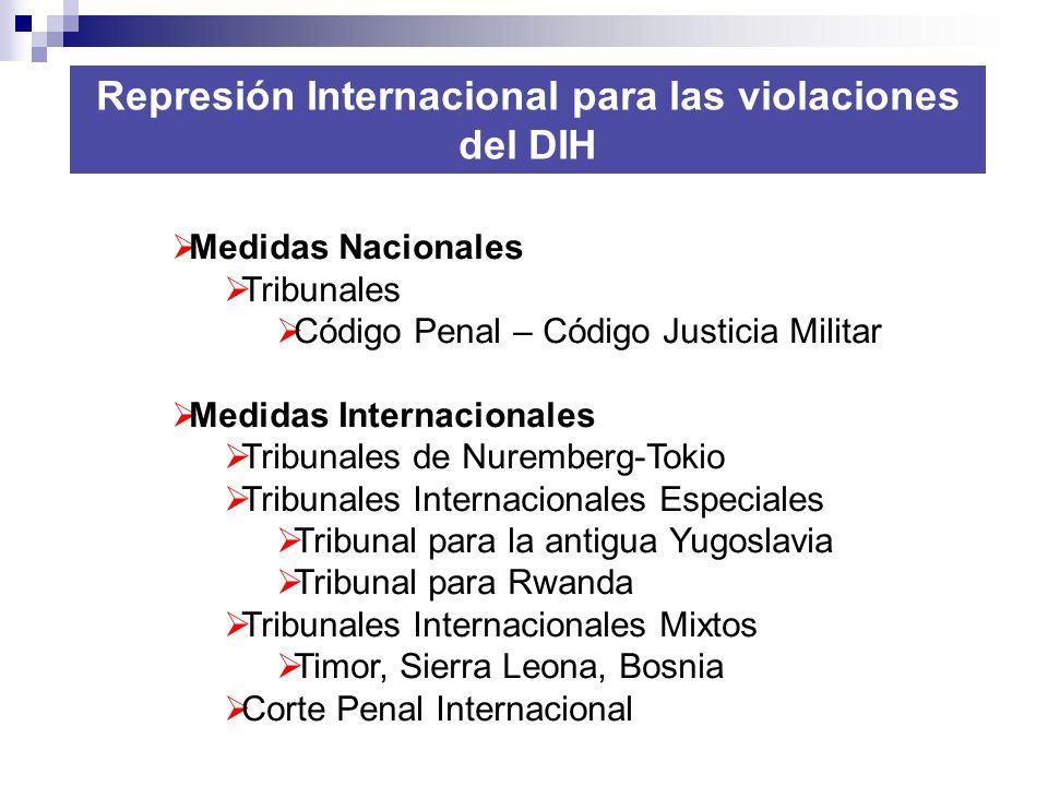 Represión Internacional para las violaciones del DIH Medidas Nacionales Tribunales Código Penal – Código Justicia Militar Medidas Internacionales Trib