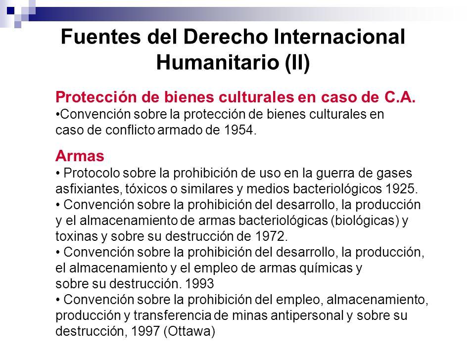 El DIH protege a la persona contra los efectos de la violencia armada Distinción entre los que participan en la violencia y los que no participan Distinción entre los que participan en la violencia y los que no participan DDHH no conocen el principio de distinción DDHH no conocen el principio de distinción Prohibición de armas que causen males superfluos o sufrimientos innecesarios Prohibición de armas que causen males superfluos o sufrimientos innecesarios DDHH no prohíben armas específicas DDHH no prohíben armas específicas Garantías judiciales Garantías judiciales DDHH admiten suspensión de muchas garantías DDHH admiten suspensión de muchas garantías Represión violaciones (incl.