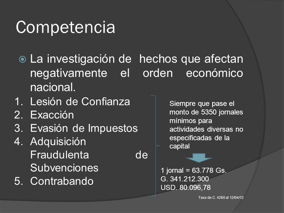 Competencia La investigación de hechos que afectan negativamente el orden económico nacional. 1.Lesión de Confianza 2.Exacción 3.Evasión de Impuestos