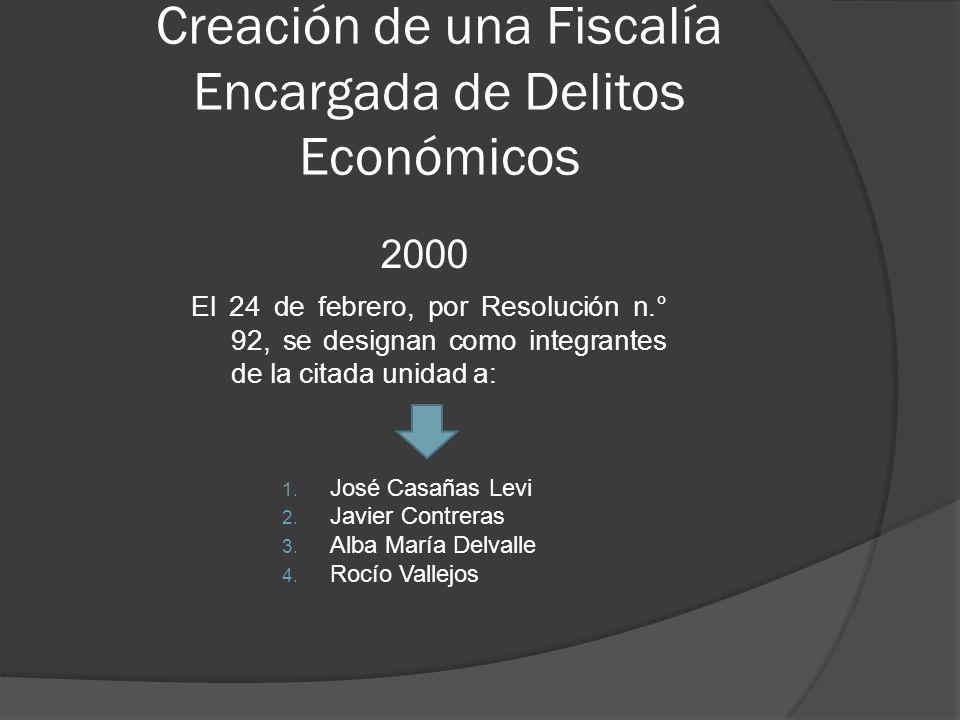 Creación de una Fiscalía Encargada de Delitos Económicos 2000 El 24 de febrero, por Resolución n.° 92, se designan como integrantes de la citada unidad a: 1.
