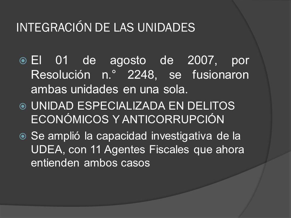 INTEGRACIÓN DE LAS UNIDADES El 01 de agosto de 2007, por Resolución n.° 2248, se fusionaron ambas unidades en una sola. UNIDAD ESPECIALIZADA EN DELITO