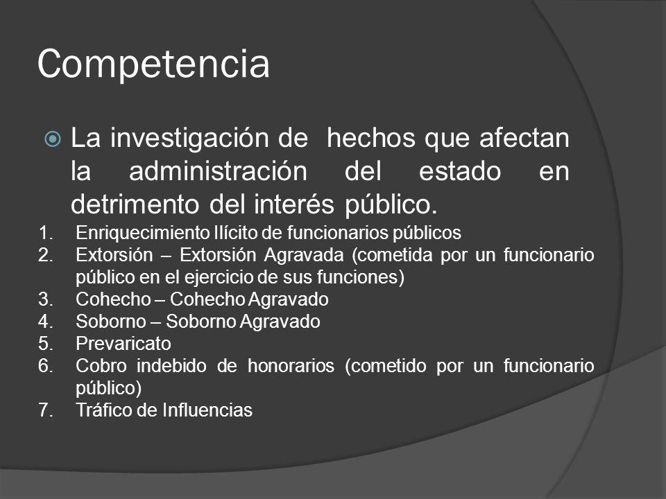 Competencia La investigación de hechos que afectan la administración del estado en detrimento del interés público. 1.Enriquecimiento Ilícito de funcio