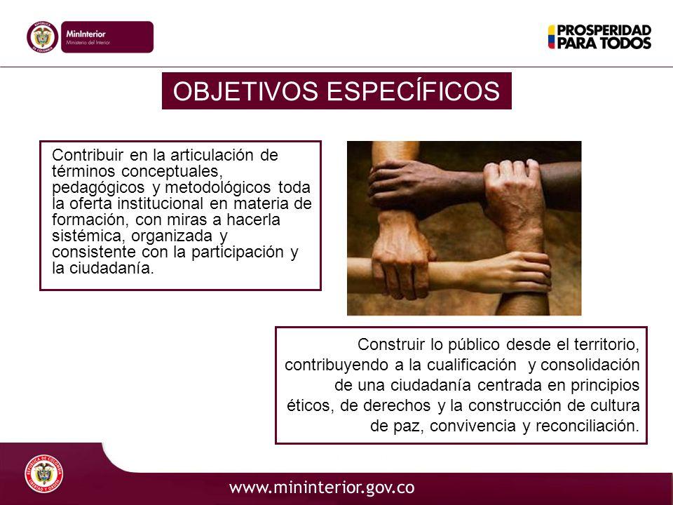 OBJETIVOS ESPECÍFICOS Contribuir en la articulación de términos conceptuales, pedagógicos y metodológicos toda la oferta institucional en materia de f