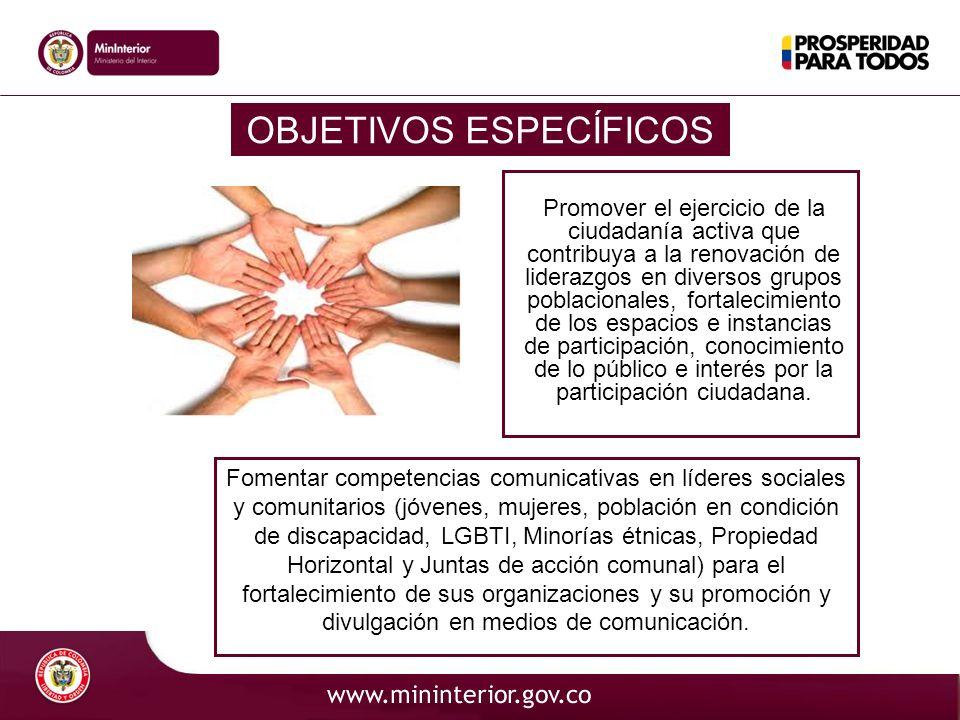 OBJETIVOS ESPECÍFICOS Promover el ejercicio de la ciudadanía activa que contribuya a la renovación de liderazgos en diversos grupos poblacionales, for