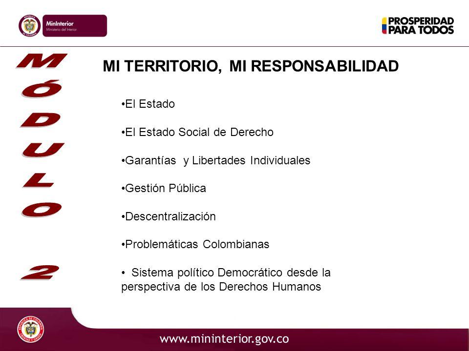 MI TERRITORIO, MI RESPONSABILIDAD El Estado El Estado Social de Derecho Garantías y Libertades Individuales Gestión Pública Descentralización Problemá