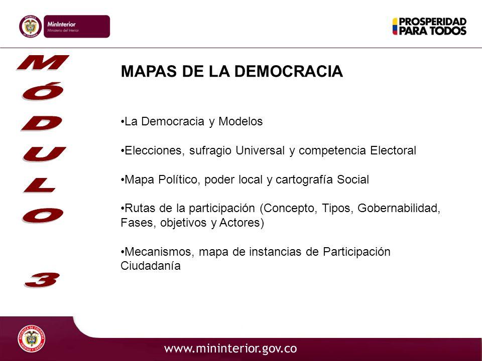 MAPAS DE LA DEMOCRACIA La Democracia y Modelos Elecciones, sufragio Universal y competencia Electoral Mapa Político, poder local y cartografía Social