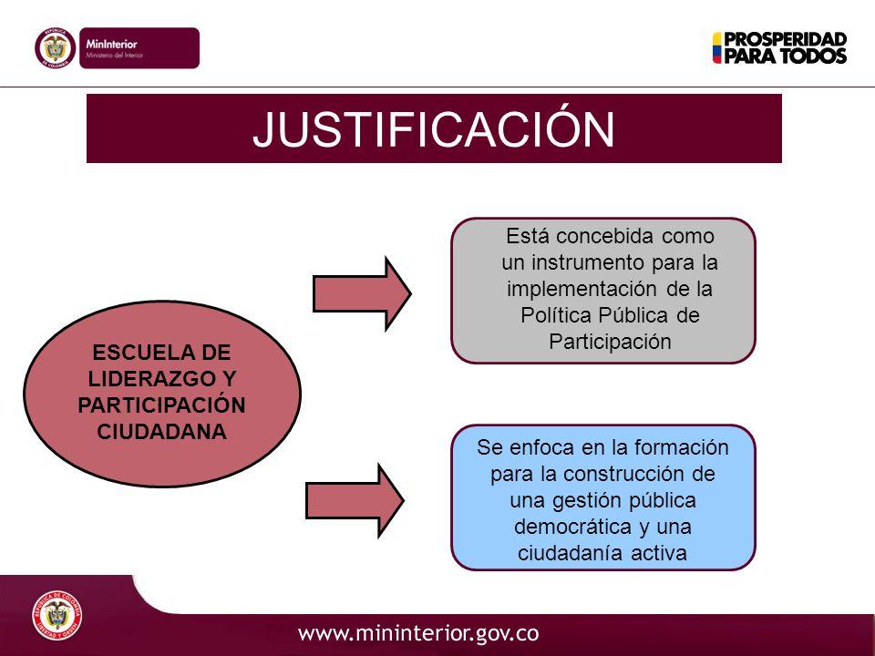 Código JUSTIFICACIÓN ESCUELA DE LIDERAZGO Y PARTICIPACIÓN CIUDADANA Está concebida como un instrumento para la implementación de la Política Pública d
