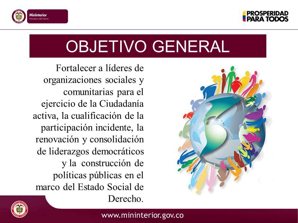 OBJETIVOS ESPECÍFICOS Implementar contenidos democráticos y de participación ciudadana a las personas de las diferentes regiones colombianas con el propósito de mejorar su incidencia en la construcción de lo público, a la vez que posibilite la transformación de la cultura institucional y organizacional para consolidar prácticas democráticas y participativas.