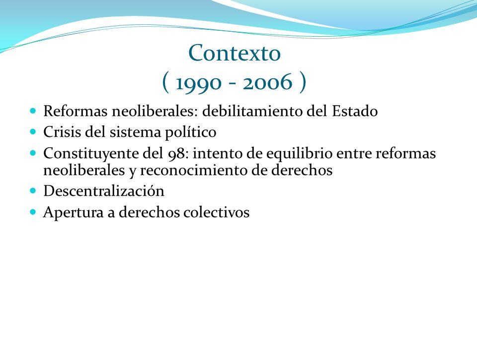Contexto ( 1990 - 2006 ) Reformas neoliberales: debilitamiento del Estado Crisis del sistema político Constituyente del 98: intento de equilibrio entr
