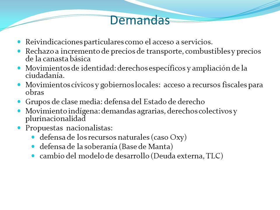Demandas Reivindicaciones particulares como el acceso a servicios. Rechazo a incremento de precios de transporte, combustibles y precios de la canasta