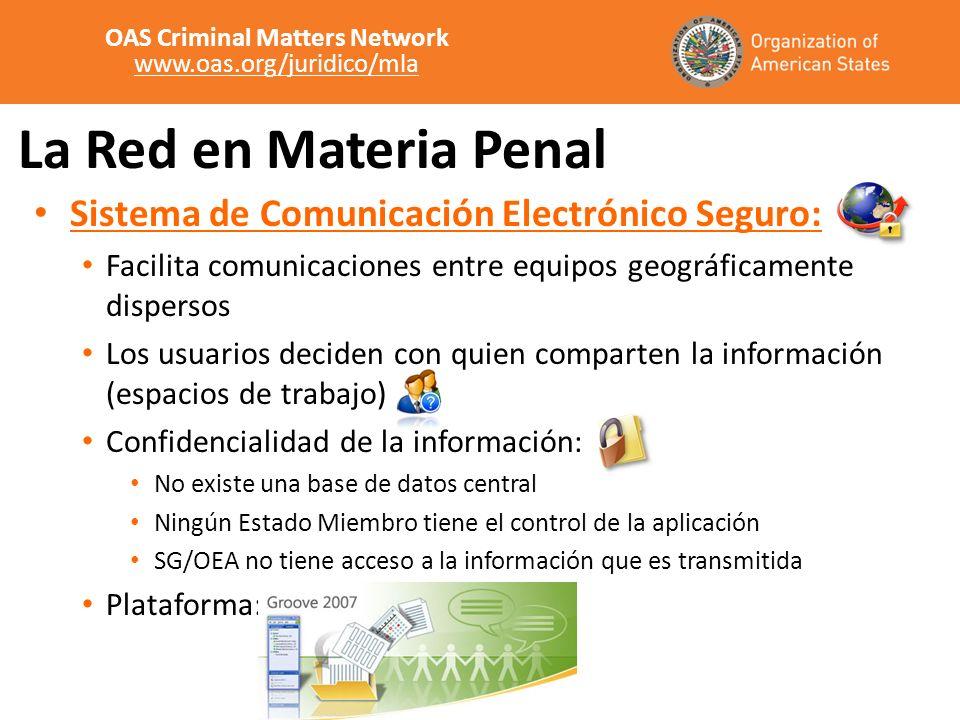 La Red en Materia Penal Sistema de Comunicación Electrónico Seguro: Facilita comunicaciones entre equipos geográficamente dispersos Los usuarios decid