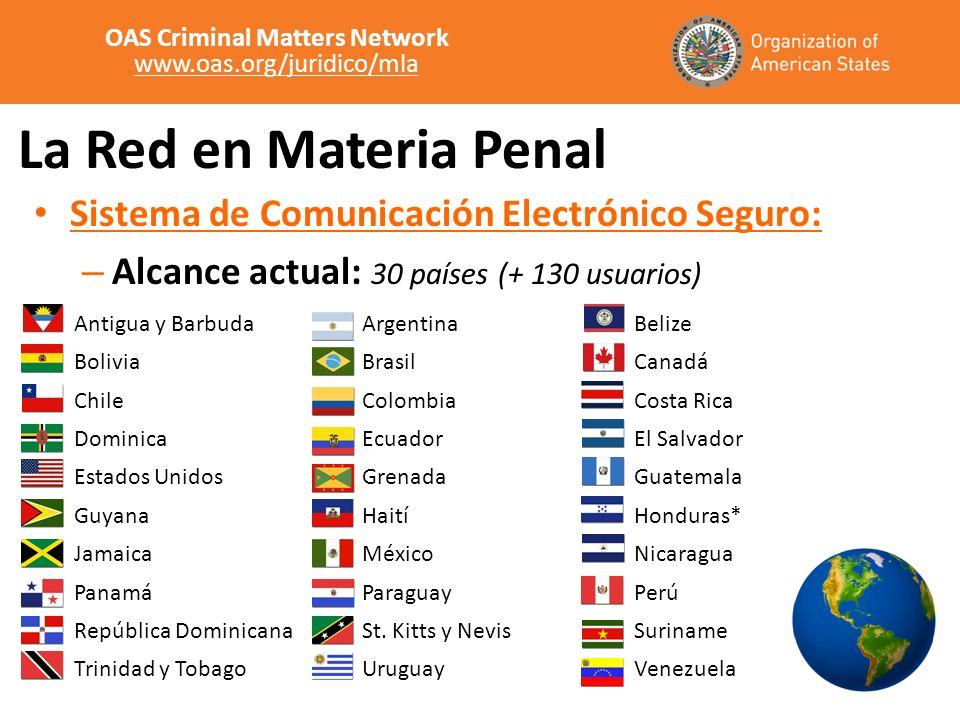 La Red en Materia Penal Sistema de Comunicación Electrónico Seguro: – Alcance actual: 30 países (+ 130 usuarios) Antigua y BarbudaArgentinaBelize Boli