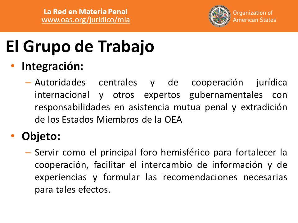 El Grupo de Trabajo Integración: – Autoridades centrales y de cooperación jurídica internacional y otros expertos gubernamentales con responsabilidade