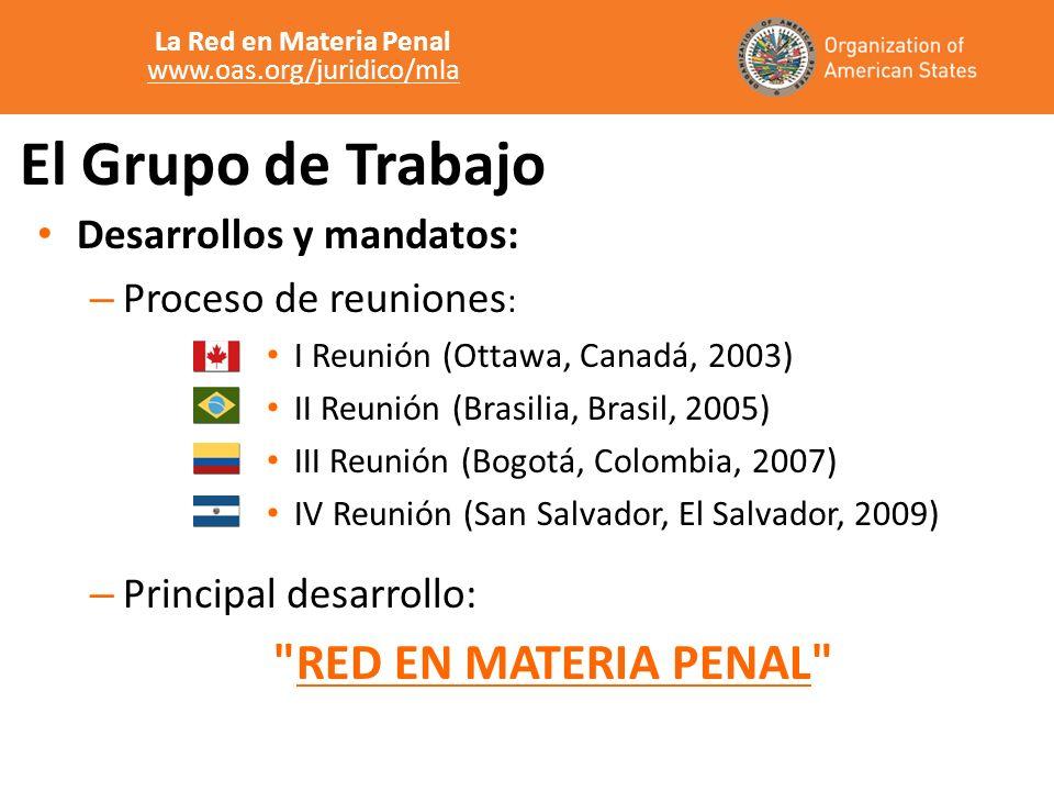 El Grupo de Trabajo Desarrollos y mandatos: – Proceso de reuniones : I Reunión (Ottawa, Canadá, 2003) II Reunión (Brasilia, Brasil, 2005) III Reunión (Bogotá, Colombia, 2007) IV Reunión (San Salvador, El Salvador, 2009) – Principal desarrollo: RED EN MATERIA PENAL La Red en Materia Penal www.oas.org/juridico/mla