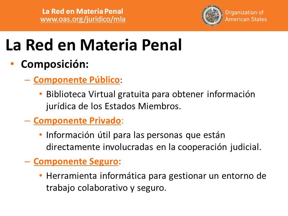 La Red en Materia Penal Composición: – Componente Público : Biblioteca Virtual gratuita para obtener información jurídica de los Estados Miembros. – C
