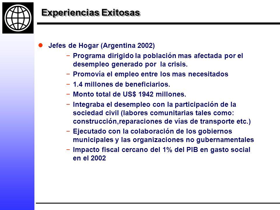 Experiencias Exitosas Jefes de Hogar (Argentina 2002) – Programa dirigido la población mas afectada por el desempleo generado por la crisis.
