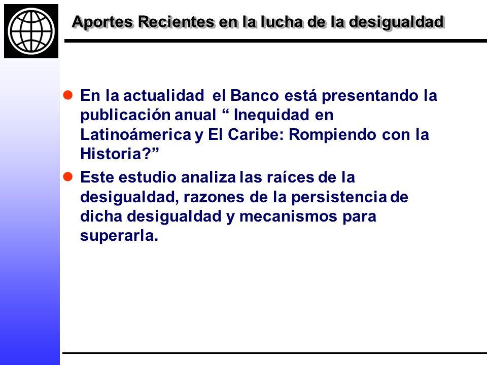 Aportes Recientes en la lucha de la desigualdad En la actualidad el Banco está presentando la publicación anual Inequidad en Latinoámerica y El Caribe: Rompiendo con la Historia.
