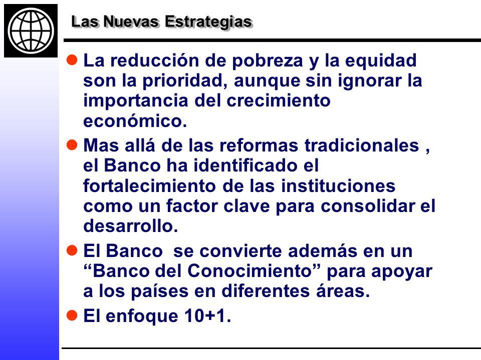 Las Nuevas Estrategias La reducción de pobreza y la equidad son la prioridad, aunque sin ignorar la importancia del crecimiento económico.