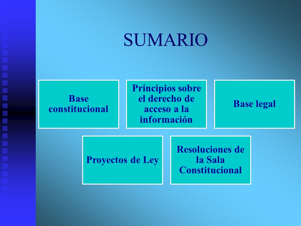 SUMARIO Base constitucional Principios sobre el derecho de acceso a la información Base legal Proyectos de Ley Resoluciones de la Sala Constitucional