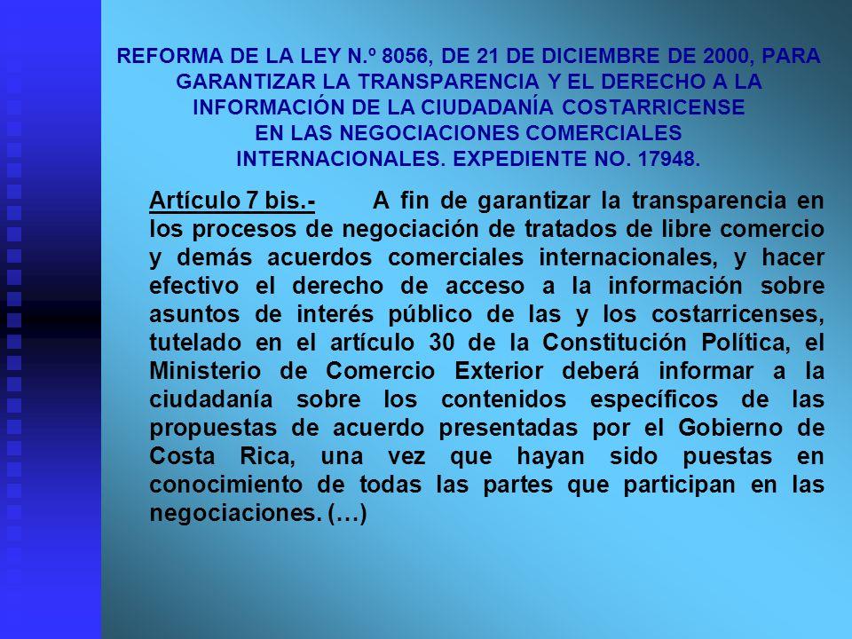REFORMA DE LA LEY N.º 8056, DE 21 DE DICIEMBRE DE 2000, PARA GARANTIZAR LA TRANSPARENCIA Y EL DERECHO A LA INFORMACIÓN DE LA CIUDADANÍA COSTARRICENSE