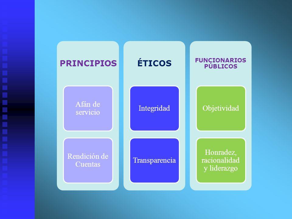 PRINCIPIOS Afán de servicio Rendición de Cuentas ÉTICOS IntegridadTransparencia FUNCIONARIOS PÚBLICOS Objetividad Honradez, racionalidad y liderazgo