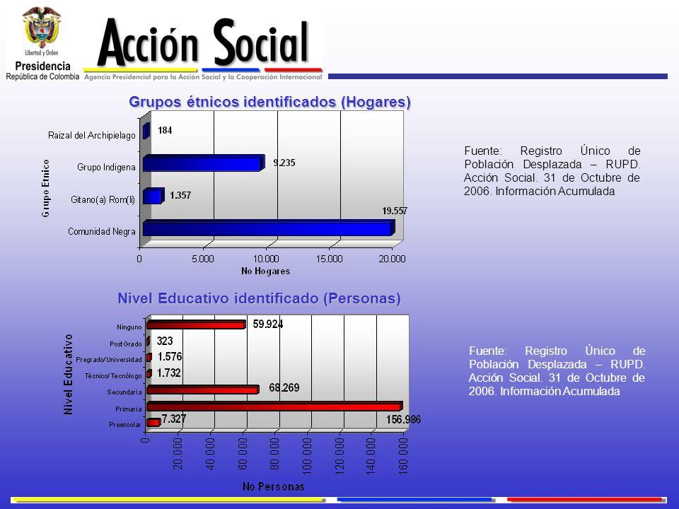 Grupos étnicos identificados (Hogares) Nivel Educativo identificado (Personas) Fuente: Registro Único de Población Desplazada – RUPD. Acción Social. 3