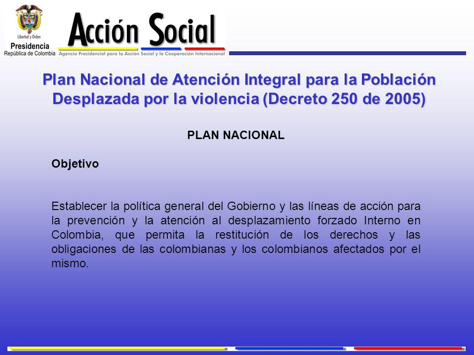 Plan Nacional de Atención Integral para la Población Desplazada por la violencia (Decreto 250 de 2005) PLAN NACIONAL Objetivo Establecer la política g