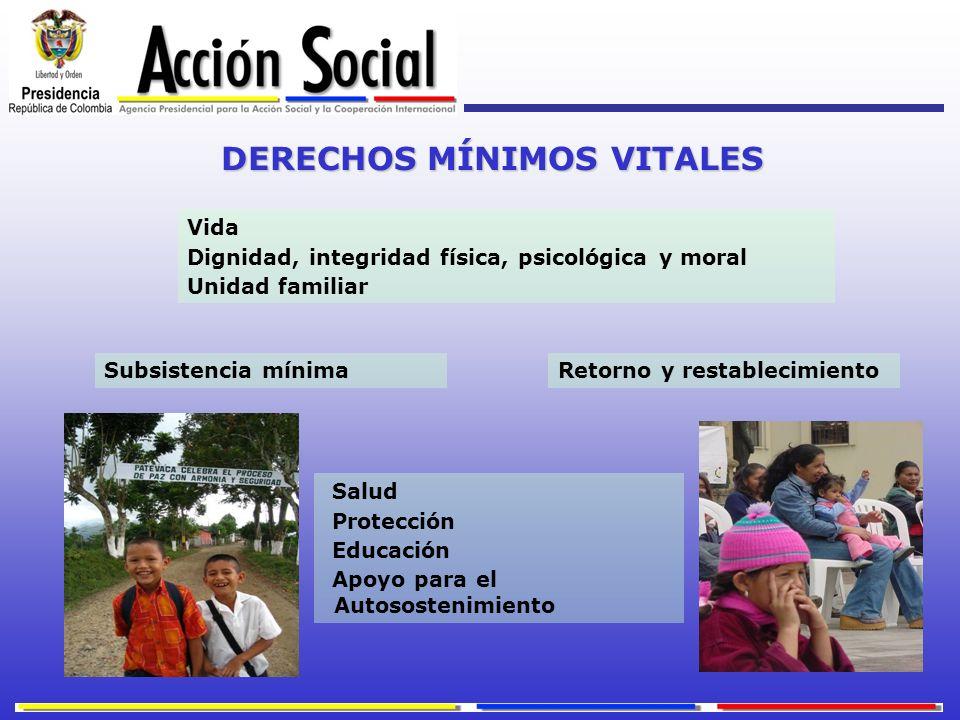 DERECHOS MÍNIMOS VITALES Vida Dignidad, integridad física, psicológica y moral Unidad familiar Subsistencia mínima Salud Protección Educación Apoyo pa