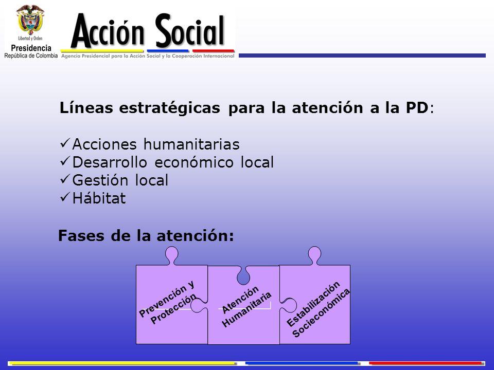 Líneas estratégicas para la atención a la PD: Acciones humanitarias Desarrollo económico local Gestión local Hábitat Fases de la atención: Atención Hu