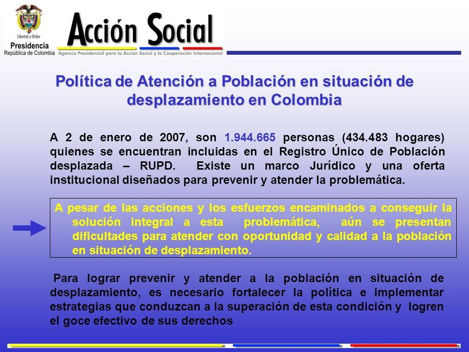 Política de Atención a Población en situación de desplazamiento en Colombia A 2 de enero de 2007, son 1.944.665 personas (434.483 hogares) quienes se