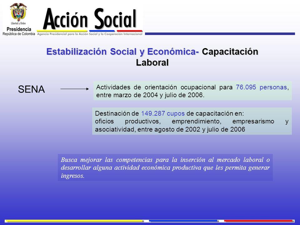 Estabilización Social y Económica- Capacitación Laboral Actividades de orientación ocupacional para 76.095 personas, entre marzo de 2004 y julio de 20