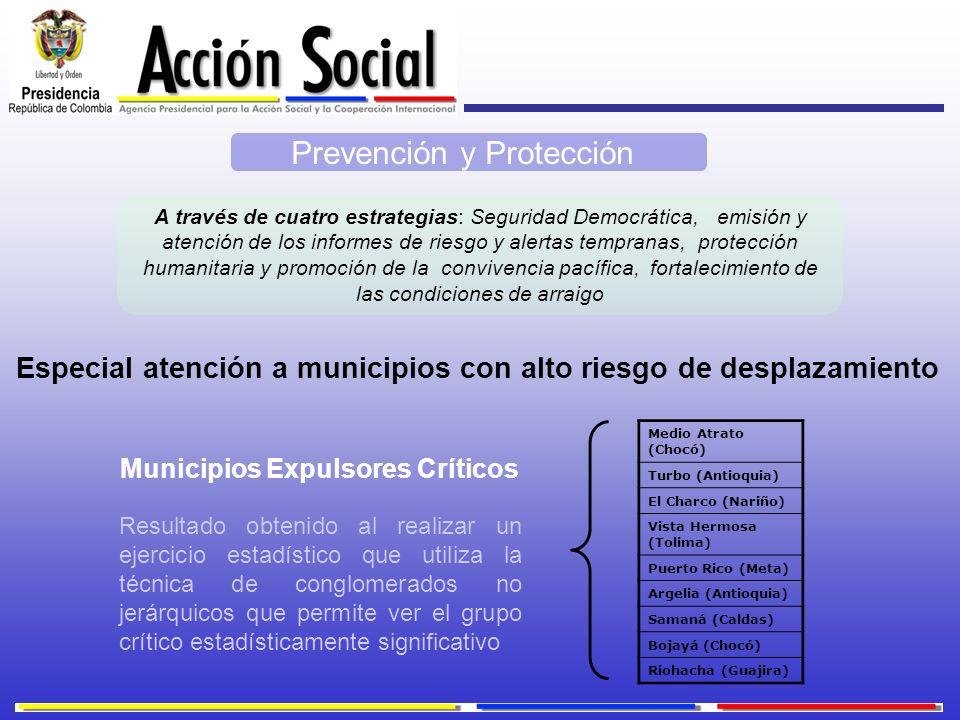 Prevención y Protección A través de cuatro estrategias: Seguridad Democrática, emisión y atención de los informes de riesgo y alertas tempranas, prote