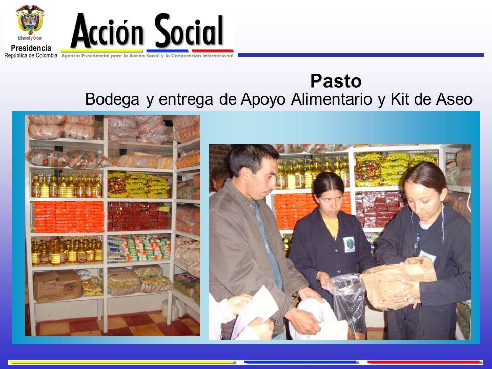Bodega y entrega de Apoyo Alimentario y Kit de Aseo Pasto