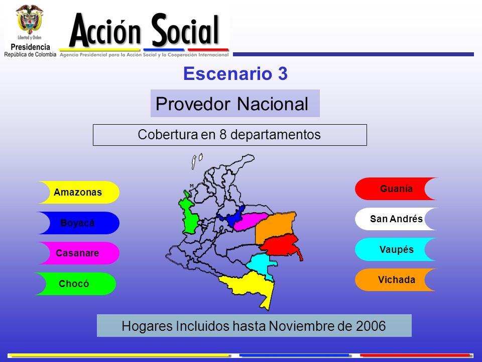 Escenario 3 Cobertura en 8 departamentos Provedor Nacional Hogares Incluidos hasta Noviembre de 2006 Guanía San Andrés Vaupés Vichada Boyacá Casanare